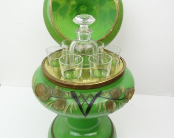 Vintage Czechoslovakia Liquor Decanter w/ Bottle & Shot Glasses Green Floral