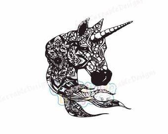 Zentangle Unicorn Head SVG, EPS, DXF, Studio, Printable Png, Boho Ethnic Unicorn Svg, Unicorn Cut File, Silhouette, Cricut, Scan n Cut