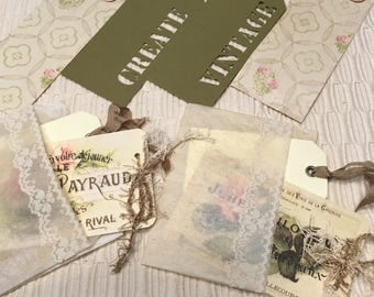 Coffee Dyed Glassine Bags for Journals with Tags