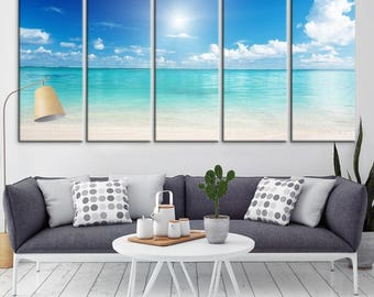 Wall Art Large Beach and Sea View Canvas Print, Large Wall Art Canvas Print, Sea Wall Art Canvas Print, 5 Panel Extra Large Wall Art Canvas