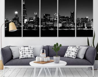 Chicago Wall Art Canvas Print   Extra Large Chicago City Night Canvas Print    Chicago Skyline