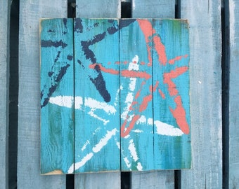 Sea Stars Pallet Art, Reclaimed wood art, Starfish art, fence art, marine wall art, Coastal Decor