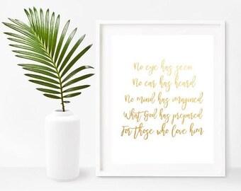 Bible Verse Art Print, No Eye Has Seen,  Bible Verse Printable,  Christian Wall Art, Digital Download, Home Decor, Wall Decor