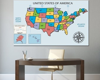 United States Map Etsy - Us map with state names