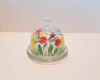 Vintage Hand Painted Glass Butter Dome and Dish