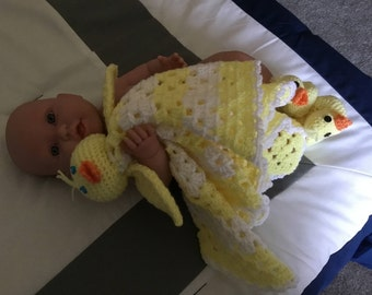Baby ducky lovey blanket and booties