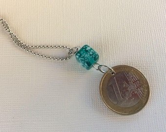1 Euro coin necklace with glass bead