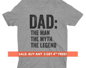 Dad: The Man The Myth The Legend T-shirt, Men's Crewneck Shirt, Cool Dad Shirt, Gift For Dad, Father's Day Gift, Short & Long Sleeve T-shirt