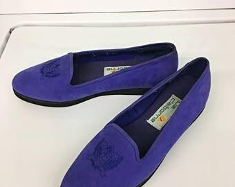 80s Vintage Liz Claiborne Purple Suede Loafers, Size 8.5