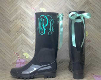 Personalized Rubber Rain boots with bows, Rainboots, Monogram, Rubber Rain Boots, Boots, Mud Boots, Personalized Mud Boots