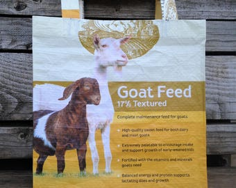 Recycled Feed Bag Tote, reusable tote bag, grocery tote, recycled shopping bag, reusable grocery bag, recycled tote bag, goat, goats