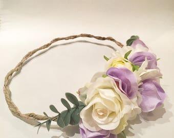 Pastel Flower Crown, purple flower crown, wedding flower crown, flower headband, Vintage flower crown, baby flower crown, bridesmaids gift
