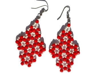 Earrings with red crystals and white beads-red earrings-earrings summer