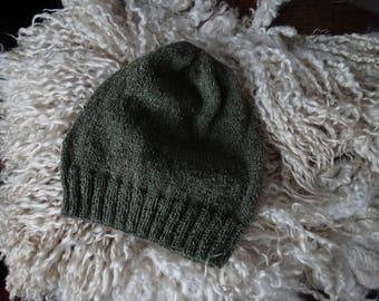 Hand knitted slouchy hat. Adult size.