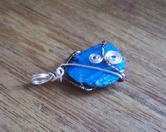 Wire Wrapped Blue Agate Pendant Silver Plated Weave Boho Jewellery OOAK