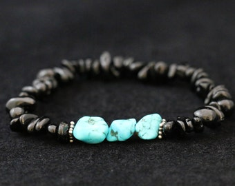 No. 5 Black Tourmaline, Turquoise and Sterling Silver Bracelet (Handmade)