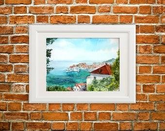 Original watercolor painting/watercolour seascape/Dubrovnik painting/sea art/Adriatic sea painting/sea painting/watercolour wall art/gift