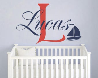 Boys Name Decal Personalized Sailboat Decal Nautical Sailboat Vinyl Wall Decal Kids Nursery Bedroom Wall Decor Monogram Wall Decal S53