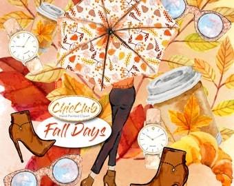 Watercolor Fashion Clipart  | Fall Fashion Clipart | Watercolor Boho Style | Watercolor  | Girly Babe Boss | Pink Flowers DIY Fashion Girl