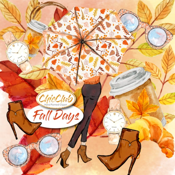 Watercolor Fashion Clipart Fall Fashion Clipart