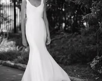 Classic wedding dress, ivory wedding dress, silk wedding dress, simple wedding dress, v-neck wedding dress, affordable wedding dress