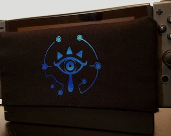 Nintendo Switch Metallic Blue Sheikah Eye Dock Sock Cozy Microfiber Protector