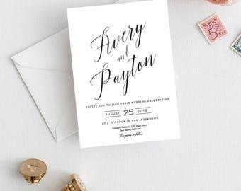 Wedding Invite Set, Wedding Invitations, Modern Invite suite, Printable Wedding Invitation, Calligraphy invitations, Invitations suite,ELLI