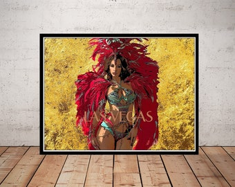 Las Vegas Art, Print or Canvas, Showgirl Picture, Retro Travel Poster, Vegas Decor, Travel Wall Art, Fun Costume Dancer Gift, Feathers, Gold