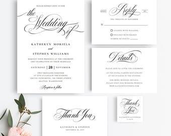 Printable Wedding Invitation Template Calligraphy Set Classic