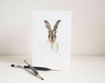 Watercolour Hare Greetings Card