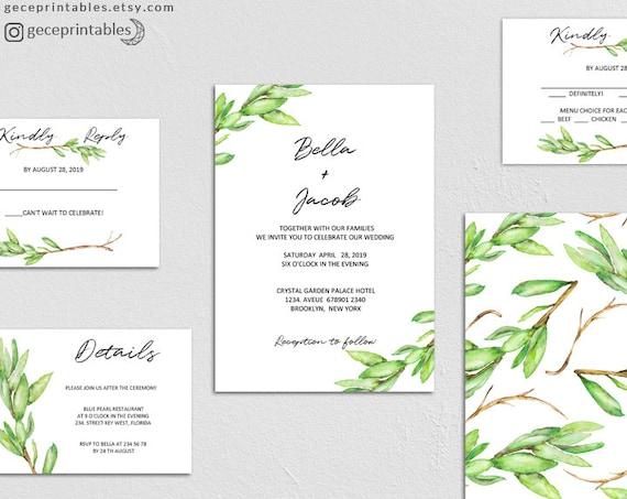 printable greenery wedding invitation template editable. Black Bedroom Furniture Sets. Home Design Ideas