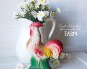 Vintage Chalkware Rooster - mid century - Folk Garden Art - Figurine