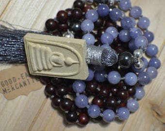 Angelite w/Blood Sandalwood Mala
