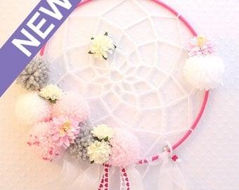 ATTRAPE RÊVES aérien pompons et fleurs