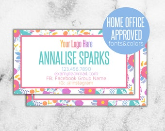 Colorful Business Card // Home Office Approved HOA Fonts and Colors // 20% off