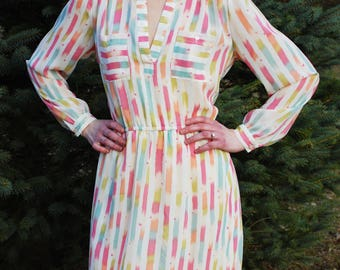 70's 80's Vintage SAMANTHA STEVENS Pastel Striped Geometric Print Dress, Shirtwaist Dress, Long Sleeves, V-Neck, Secretary Dress, Size M / L