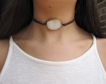 Brown leather white rock necklace