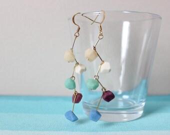 Gemstone Zig Zag Earrings, Turquoise Blue, Purple, & White, Pierced Earrings, dangle earrings, Nickel Free, 18k gold plated