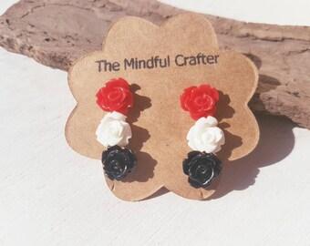 Rose flower earrings. Set 3 x rose earrings. Rose jewellery. Flower earrings jewellery. Black rose red rose white rose earrings. jewellery