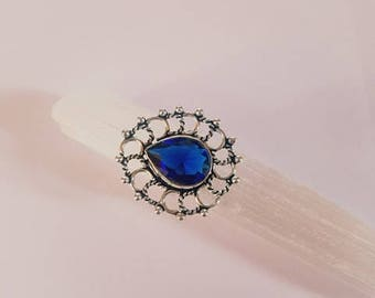 Sapphire Ring Blue Sapphire Ring Sapphire Crystal Ring Statement Ring Silver Plated Ring size 8