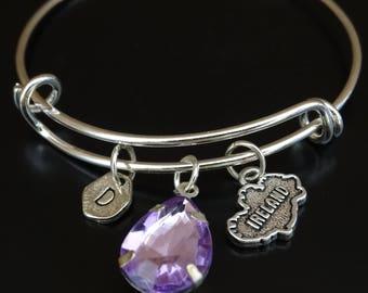 Ireland Bracelet, Ireland Bangle, Ireland Charm, Ireland Pendant, Ireland Jewelry, Ireland Map Bracelet, Irish Bracelet, Irish Jewelry Gift