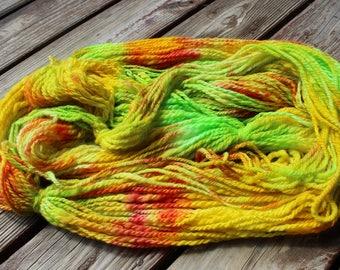 Corriedale wool handspun handpainted 2 ply worsted weight yarn - 180 yards