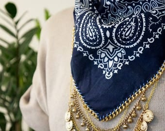 Navy Bandana with Gold Chain and Charms | Edgy Statement | Western Style | Coachella Clothing | Bandana Necklace | Chain Bandana