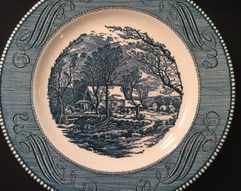 dinner plate The Old Grist Mill by Currier and Ives