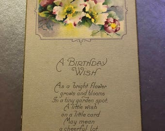 Antique 1900s Floral Postcard, Watercolor Flowers, Birthday Postcard, Friendship Card, Periwinkle Card, Flower Bouquet, Spring Colors, Cheer