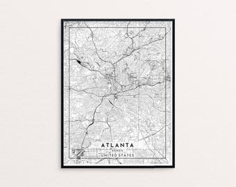 Atlanta City Map Print, Clean Contemporary poster fit for Ikea frame 24x34 inch, gift art for him her, Anniversary personalized travel