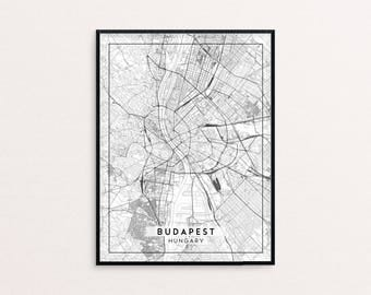 Budapest City Map Print, Clean Contemporary poster fit for Ikea frame 24x34 inch, gift art for him her, Anniversary personalized travel