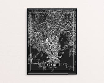 Helsinki Black City Map Print, Clean Contemporary poster fit for Ikea frame 24x34 inch, gift art him her, Anniversary personalized travel