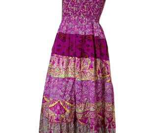 Vintage 1980s Strapless Cerise Pink Print Layered Maxi Dress Size S / Small / Bandeau Dress / Hippy Bohemian Boho Chic / Festival Fashion