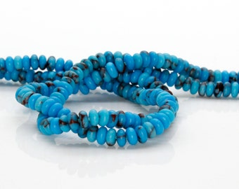 Turquoise Rondelle Natural Gemstone Beads (2mm x 4mm Full Strand)